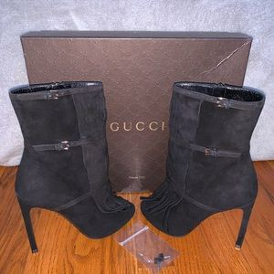 Black Suede Gucci Open Toe Boots